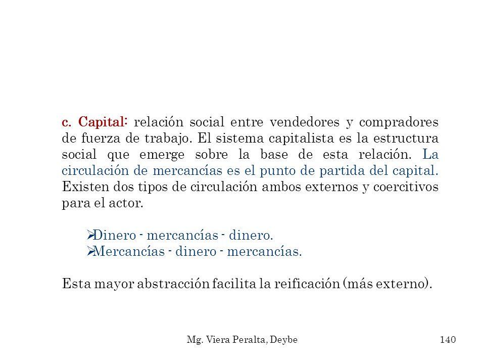 c. Capital: relación social entre vendedores y compradores de fuerza de trabajo. El sistema capitalista es la estructura social que emerge sobre la ba