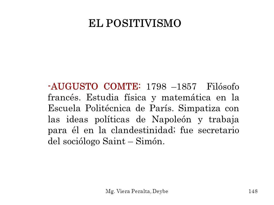 -AUGUSTO COMTE: 1798 –1857 Filósofo francés. Estudia física y matemática en la Escuela Politécnica de París. Simpatiza con las ideas políticas de Napo