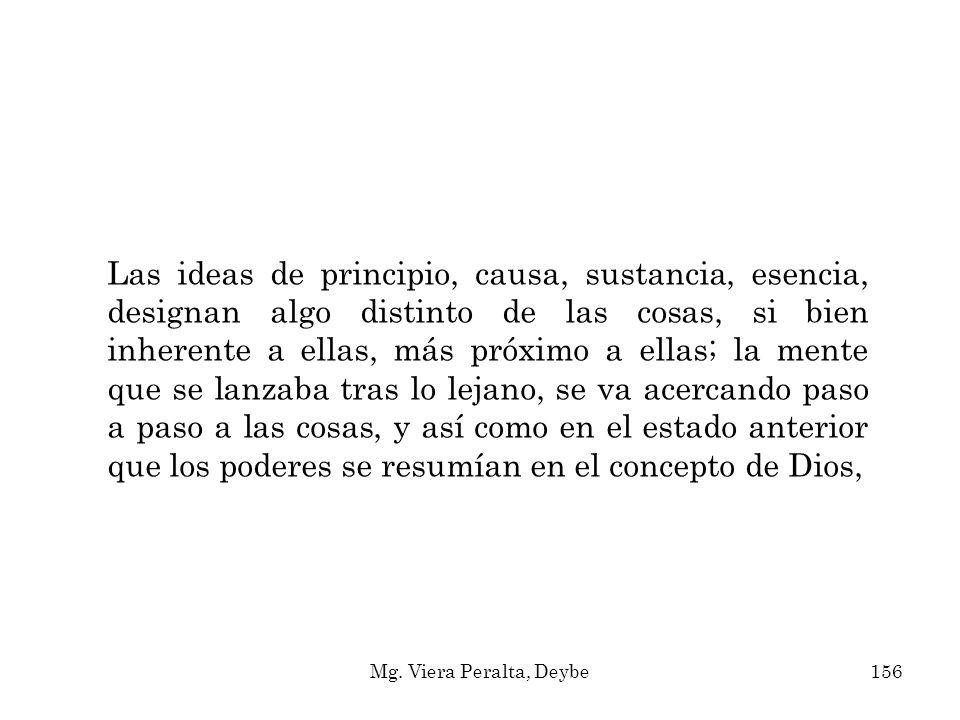 Las ideas de principio, causa, sustancia, esencia, designan algo distinto de las cosas, si bien inherente a ellas, más próximo a ellas; la mente que s