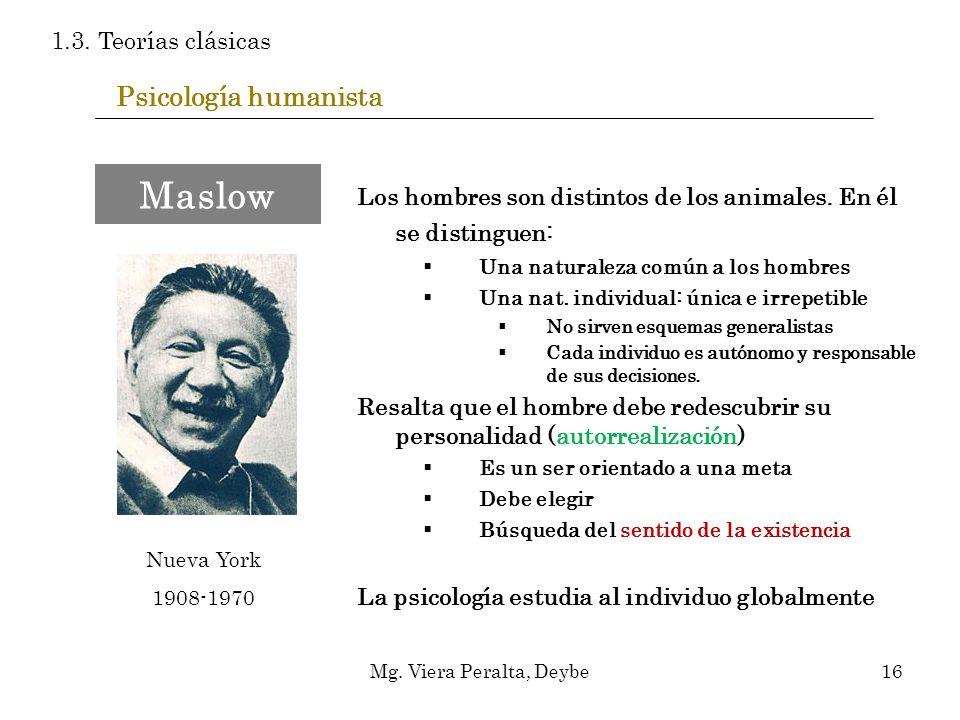 Psicología humanista Los hombres son distintos de los animales. En él se distinguen: Una naturaleza común a los hombres Una nat. individual: única e i