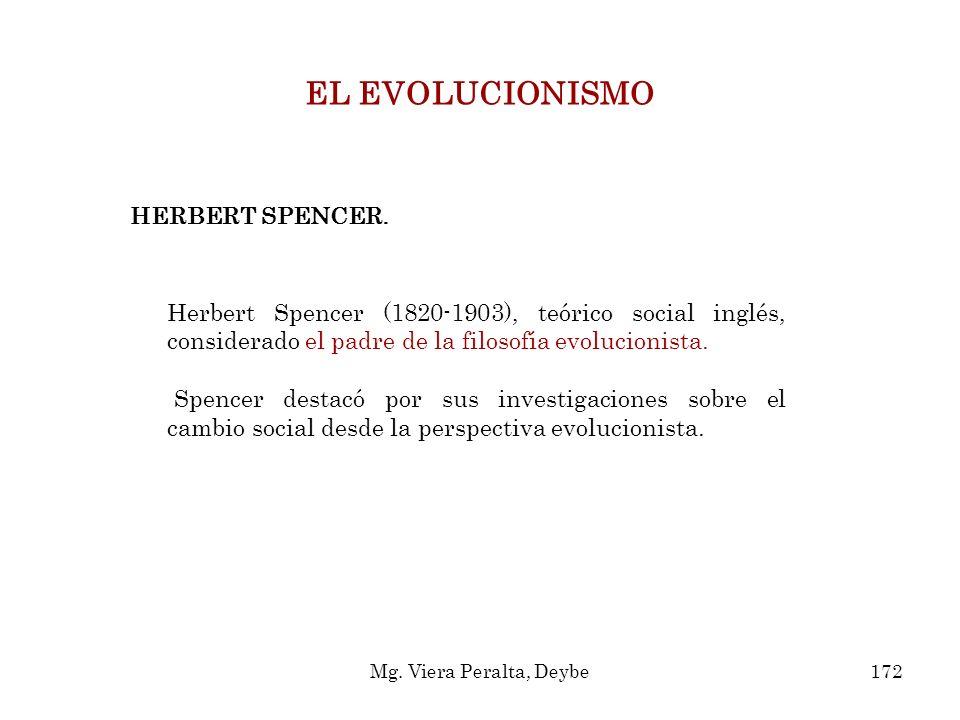 HERBERT SPENCER. EL EVOLUCIONISMO Herbert Spencer (1820-1903), teórico social inglés, considerado el padre de la filosofía evolucionista. Spencer dest