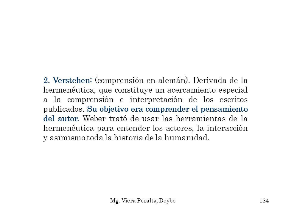 2. Verstehen: (comprensión en alemán). Derivada de la hermenéutica, que constituye un acercamiento especial a la comprensión e interpretación de los e