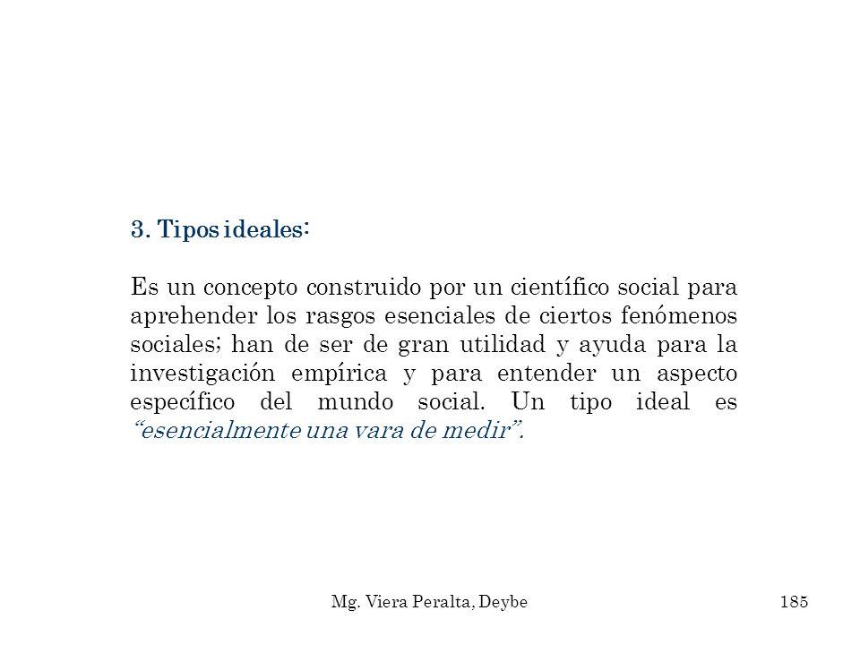 3. Tipos ideales: Es un concepto construido por un científico social para aprehender los rasgos esenciales de ciertos fenómenos sociales; han de ser d