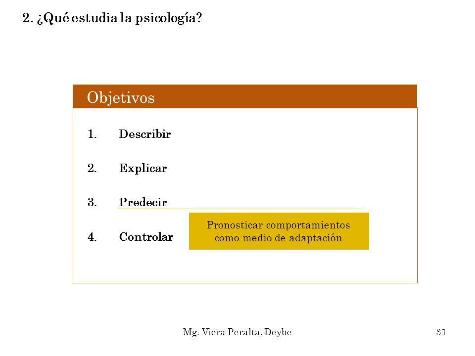 Objetivos 1.Describir 2.Explicar 3.Predecir 4.Controlar Pronosticar comportamientos como medio de adaptación 2. ¿Qué estudia la psicología? Mg. Viera