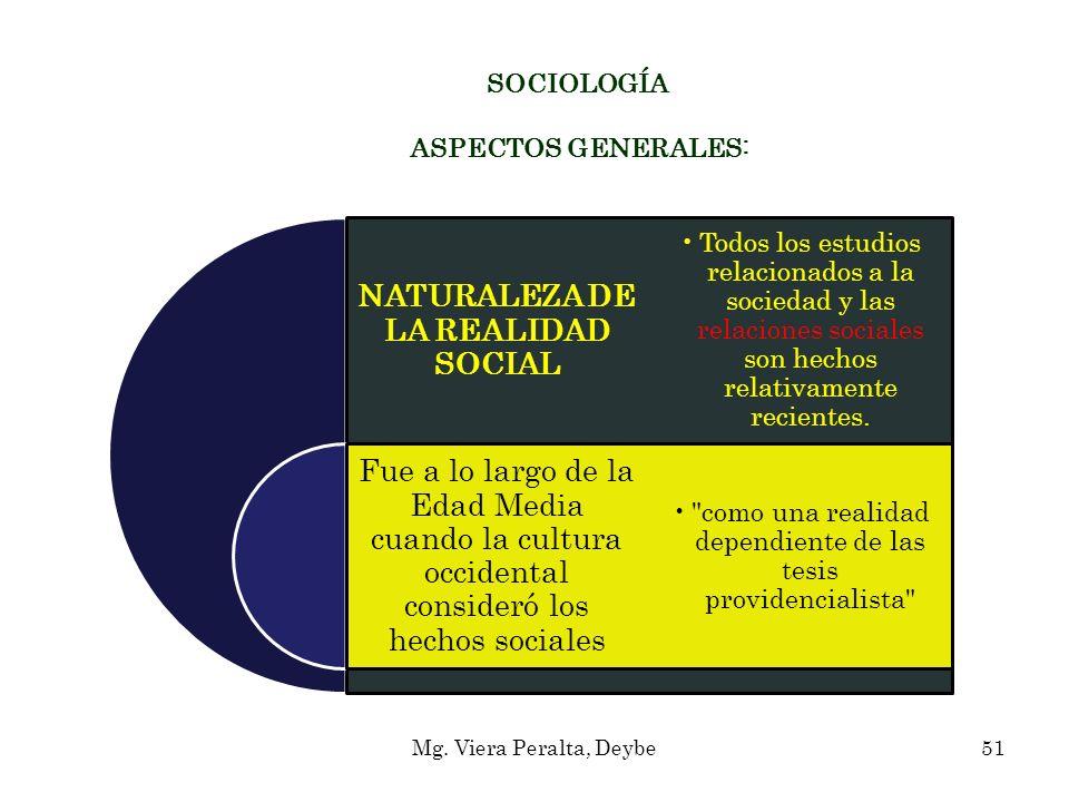 SOCIOLOGÍA ASPECTOS GENERALES: NATURALEZA DE LA REALIDAD SOCIAL Fue a lo largo de la Edad Media cuando la cultura occidental consideró los hechos soci