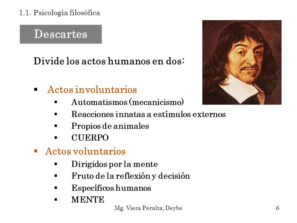 Dualismo interaccionista Mente y cuerpo interaccionan a través de la Glándula Pineal Descartes 1.1.