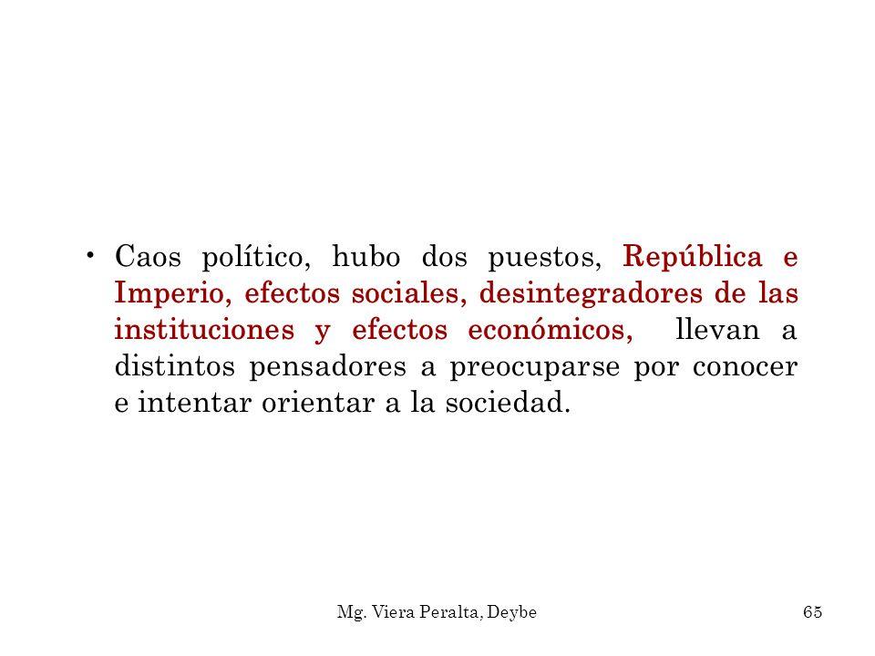 Caos político, hubo dos puestos, República e Imperio, efectos sociales, desintegradores de las instituciones y efectos económicos, llevan a distintos
