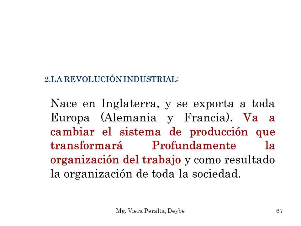2.LA REVOLUCIÓN INDUSTRIAL: Nace en Inglaterra, y se exporta a toda Europa (Alemania y Francia). Va a cambiar el sistema de producción que transformar