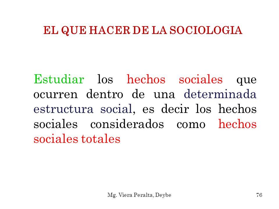 EL QUE HACER DE LA SOCIOLOGIA Estudiar los hechos sociales que ocurren dentro de una determinada estructura social, es decir los hechos sociales consi