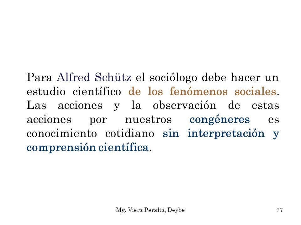 Para Alfred Schütz el sociólogo debe hacer un estudio científico de los fenómenos sociales. Las acciones y la observación de estas acciones por nuestr