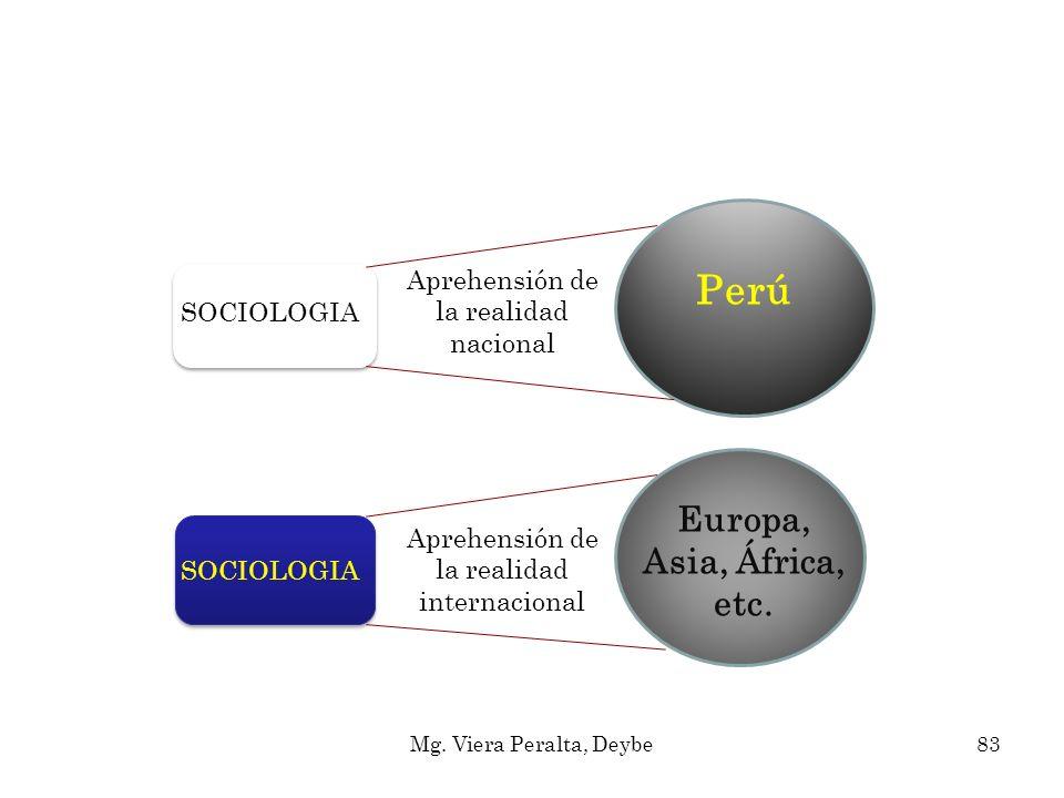 Aprehensión de la realidad nacional Aprehensión de la realidad internacional SOCIOLOGIA Perú Europa, Asia, África, etc. 83Mg. Viera Peralta, Deybe