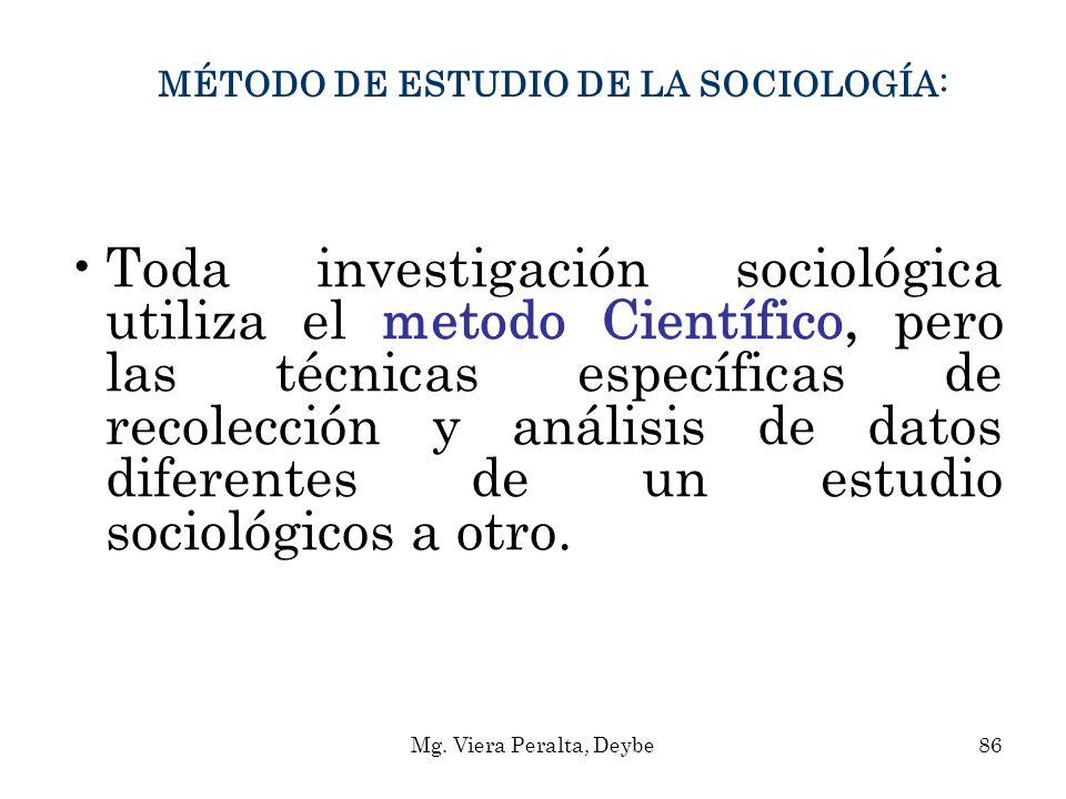 MÉTODO DE ESTUDIO DE LA SOCIOLOGÍA: Toda investigación sociológica utiliza el metodo Científico, pero las técnicas específicas de recolección y anális