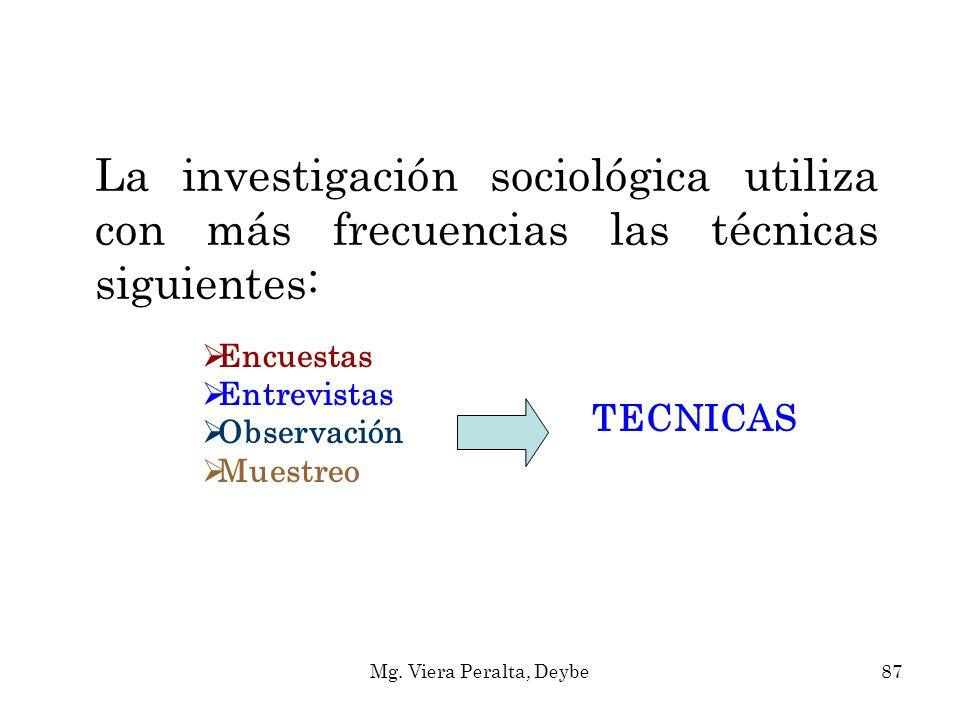 La investigación sociológica utiliza con más frecuencias las técnicas siguientes: Encuestas Entrevistas Observación Muestreo TECNICAS 87Mg. Viera Pera