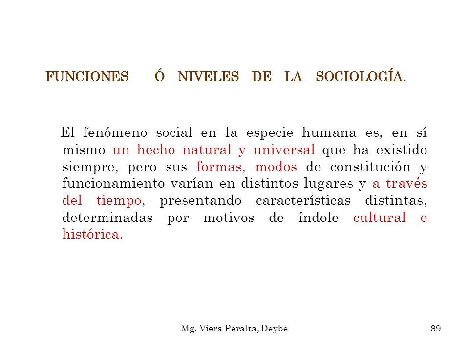 FUNCIONES Ó NIVELES DE LA SOCIOLOGÍA. El fenómeno social en la especie humana es, en sí mismo un hecho natural y universal que ha existido siempre, pe