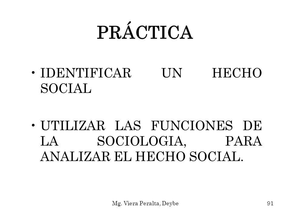 PRÁCTICA IDENTIFICAR UN HECHO SOCIAL UTILIZAR LAS FUNCIONES DE LA SOCIOLOGIA, PARA ANALIZAR EL HECHO SOCIAL. 91Mg. Viera Peralta, Deybe