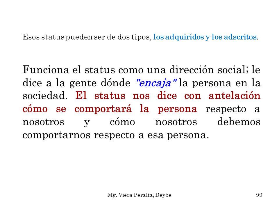 Esos status pueden ser de dos tipos, los adquiridos y los adscritos. Funciona el status como una dirección social; le dice a la gente dónde