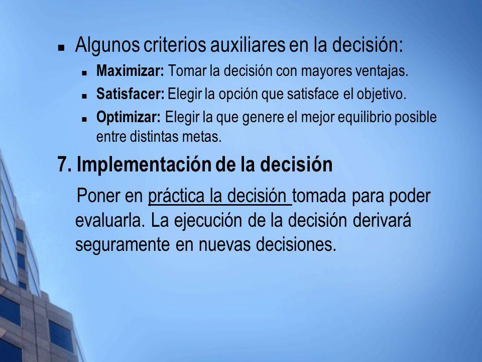 Algunos criterios auxiliares en la decisión: Maximizar: Tomar la decisión con mayores ventajas. Satisfacer: Elegir la opción que satisface el objetivo