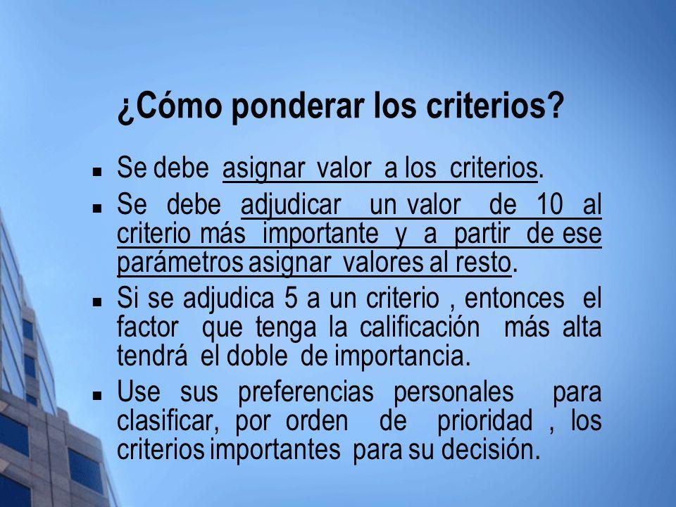 ¿Cómo ponderar los criterios? Se debe asignar valor a los criterios. Se debe adjudicar un valor de 10 al criterio más importante y a partir de ese par