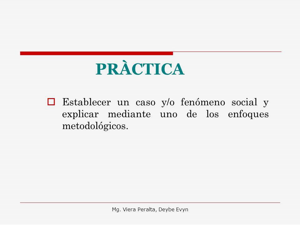 PRÀCTICA Establecer un caso y/o fenómeno social y explicar mediante uno de los enfoques metodológicos. Mg. Viera Peralta, Deybe Evyn