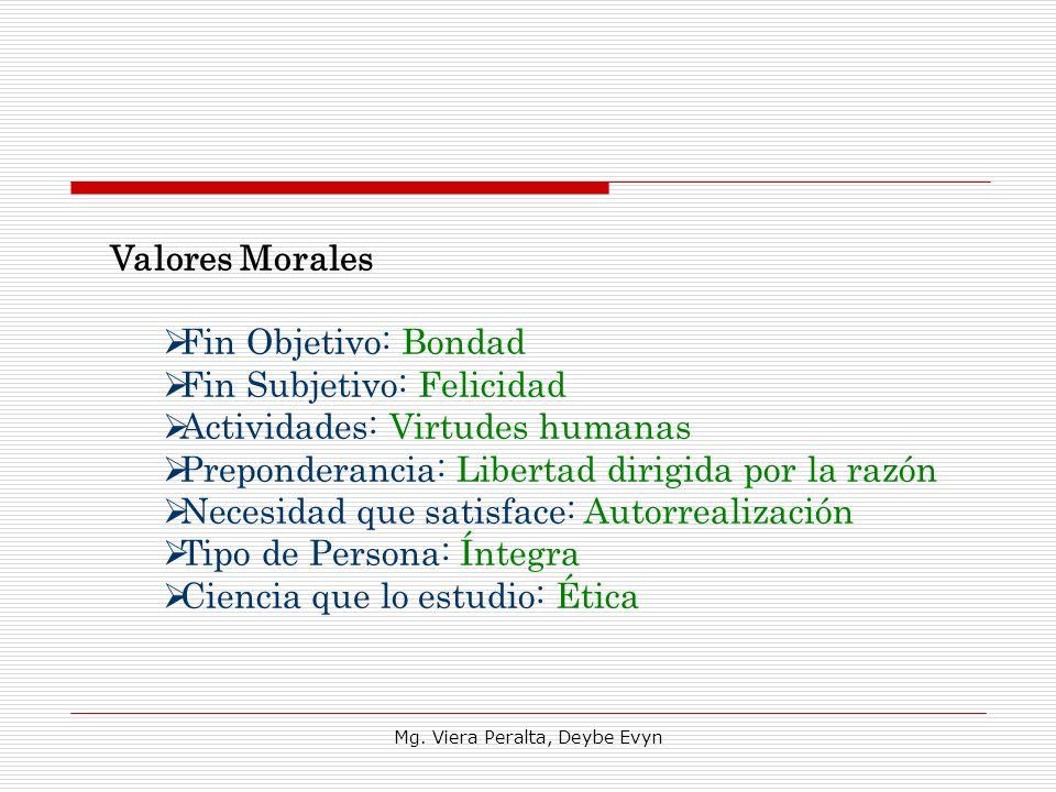Valores Morales Fin Objetivo: Bondad Fin Subjetivo: Felicidad Actividades: Virtudes humanas Preponderancia: Libertad dirigida por la razón Necesidad q