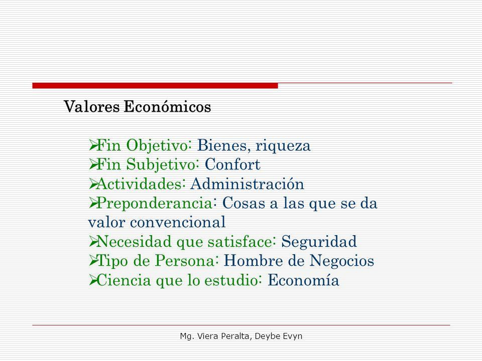 Valores Económicos Fin Objetivo: Bienes, riqueza Fin Subjetivo: Confort Actividades: Administración Preponderancia: Cosas a las que se da valor conven
