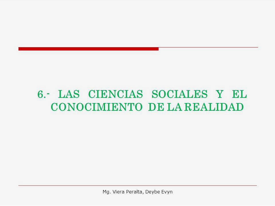6.- LAS CIENCIAS SOCIALES Y EL CONOCIMIENTO DE LA REALIDAD Mg. Viera Peralta, Deybe Evyn
