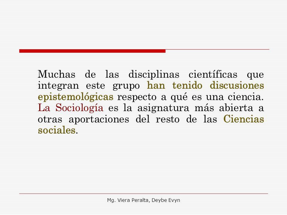 Muchas de las disciplinas científicas que integran este grupo han tenido discusiones epistemológicas respecto a qué es una ciencia. La Sociología es l
