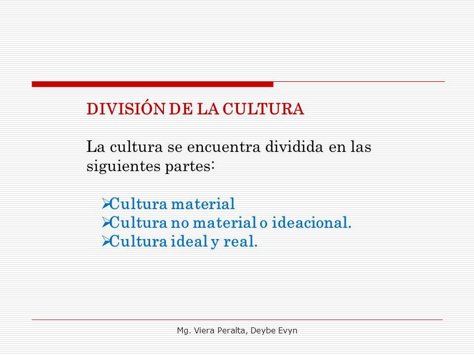 DIVISIÓN DE LA CULTURA La cultura se encuentra dividida en las siguientes partes: Cultura material Cultura no material o ideacional. Cultura ideal y r