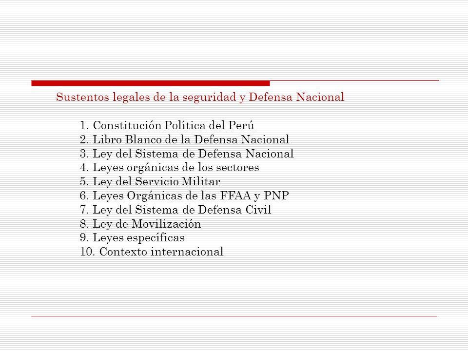 Sustentos legales de la seguridad y Defensa Nacional 1. Constitución Política del Perú 2. Libro Blanco de la Defensa Nacional 3. Ley del Sistema de De