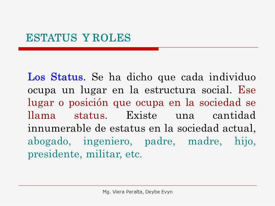 ESTATUS Y ROLES Los Status. Se ha dicho que cada individuo ocupa un lugar en la estructura social. Ese lugar o posición que ocupa en la sociedad se ll