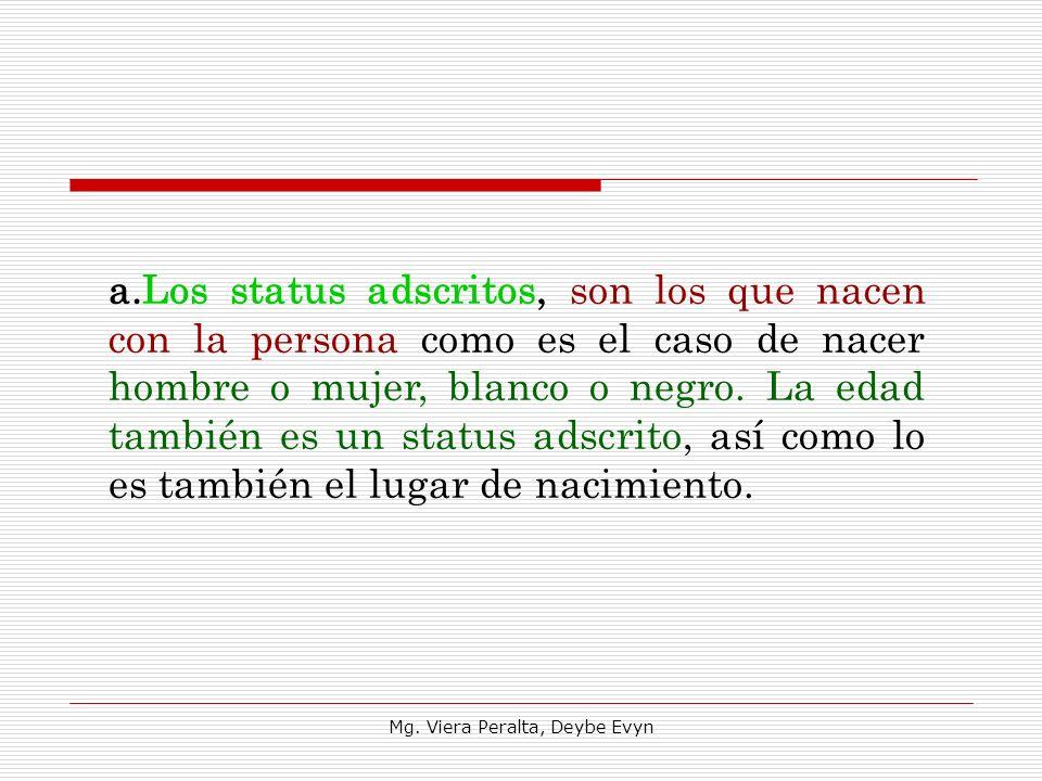 a.Los status adscritos, son los que nacen con la persona como es el caso de nacer hombre o mujer, blanco o negro. La edad también es un status adscri