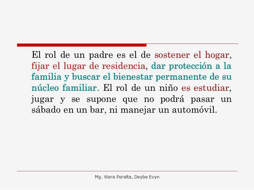 El rol de un padre es el de sostener el hogar, fijar el lugar de residencia, dar protección a la familia y buscar el bienestar permanente de su núcleo