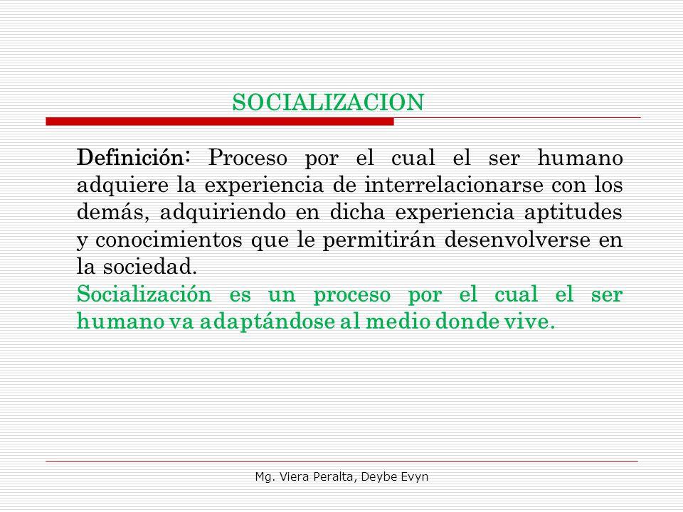 Definición: Proceso por el cual el ser humano adquiere la experiencia de interrelacionarse con los demás, adquiriendo en dicha experiencia aptitudes y