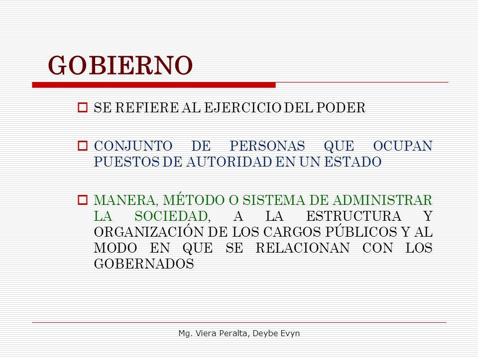 GOBIERNO SE REFIERE AL EJERCICIO DEL PODER CONJUNTO DE PERSONAS QUE OCUPAN PUESTOS DE AUTORIDAD EN UN ESTADO MANERA, MÉTODO O SISTEMA DE ADMINISTRAR L