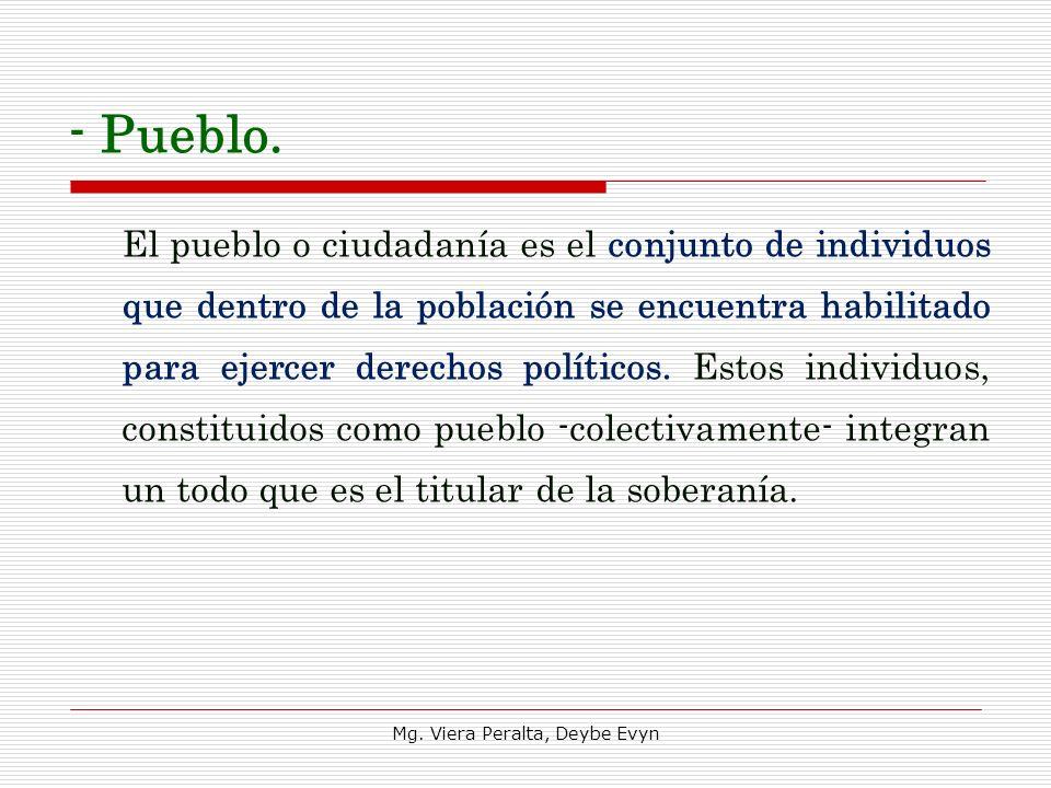 - Pueblo. El pueblo o ciudadanía es el conjunto de individuos que dentro de la población se encuentra habilitado para ejercer derechos políticos. Esto