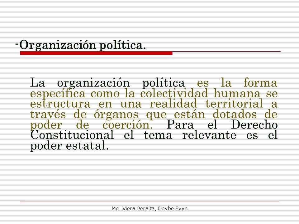 -Organización política. La organización política es la forma específica como la colectividad humana se estructura en una realidad territorial a través