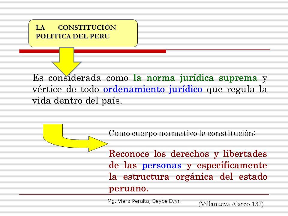 Es considerada como la norma jurídica suprema y vértice de todo ordenamiento jurídico que regula la vida dentro del país. Como cuerpo normativo la con