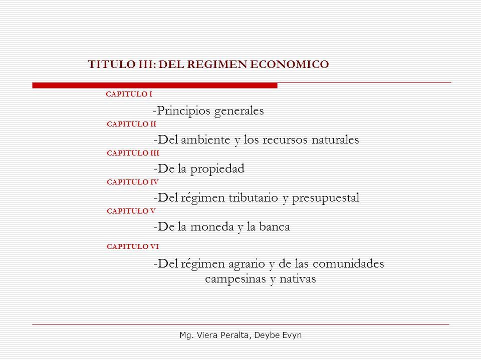 TITULO III: DEL REGIMEN ECONOMICO CAPITULO I -Principios generales CAPITULO II -Del ambiente y los recursos naturales CAPITULO III -De la propiedad CA