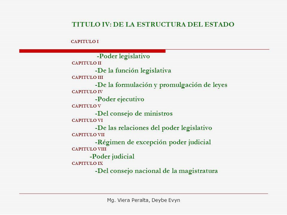 TITULO IV: DE LA ESTRUCTURA DEL ESTADO CAPITULO I -Poder legislativo CAPITULO II -De la función legislativa CAPITULO III -De la formulación y promulga