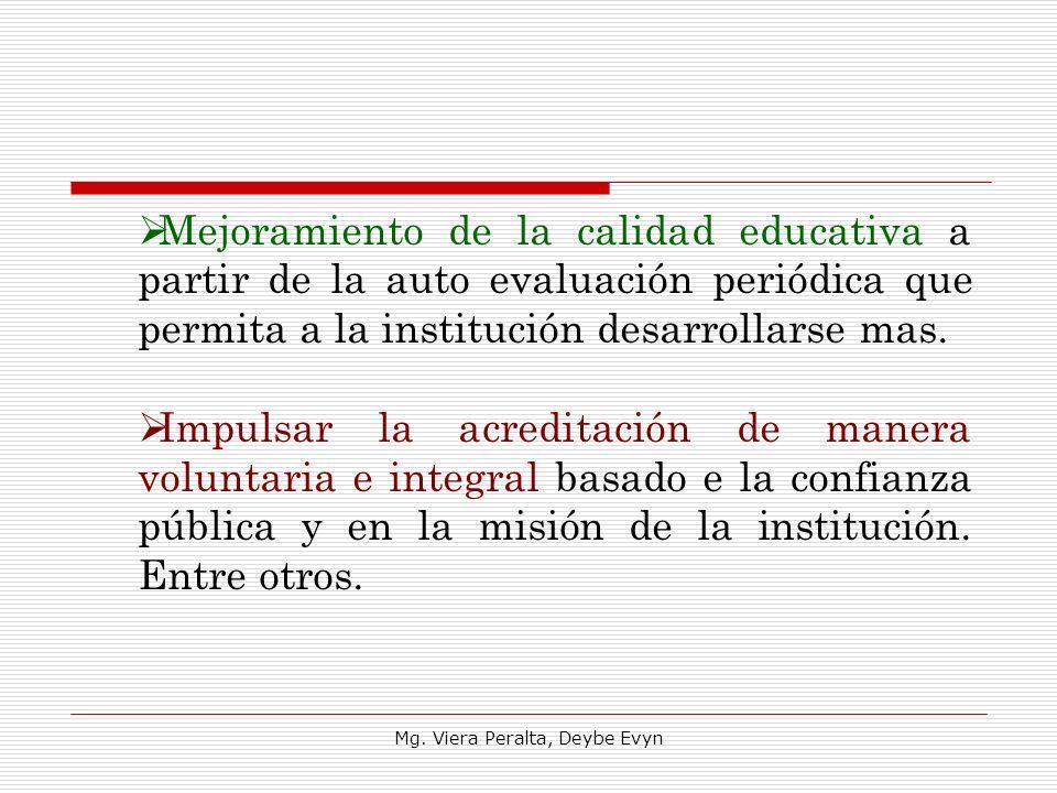 Mejoramiento de la calidad educativa a partir de la auto evaluación periódica que permita a la institución desarrollarse mas. Impulsar la acreditación