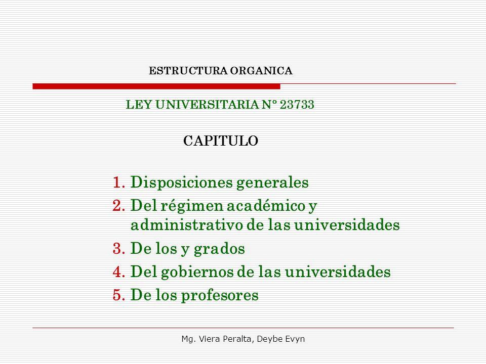 ESTRUCTURA ORGANICA LEY UNIVERSITARIA N° 23733 CAPITULO 1.Disposiciones generales 2.Del régimen académico y administrativo de las universidades 3.De l