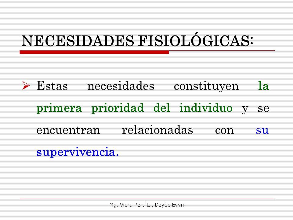 NECESIDADES FISIOLÓGICAS: Estas necesidades constituyen la primera prioridad del individuo y se encuentran relacionadas con su supervivencia. Mg. Vier