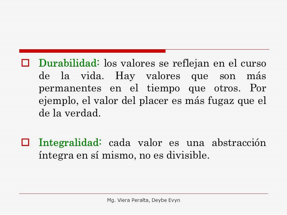 Durabilidad: los valores se reflejan en el curso de la vida. Hay valores que son más permanentes en el tiempo que otros. Por ejemplo, el valor del pla