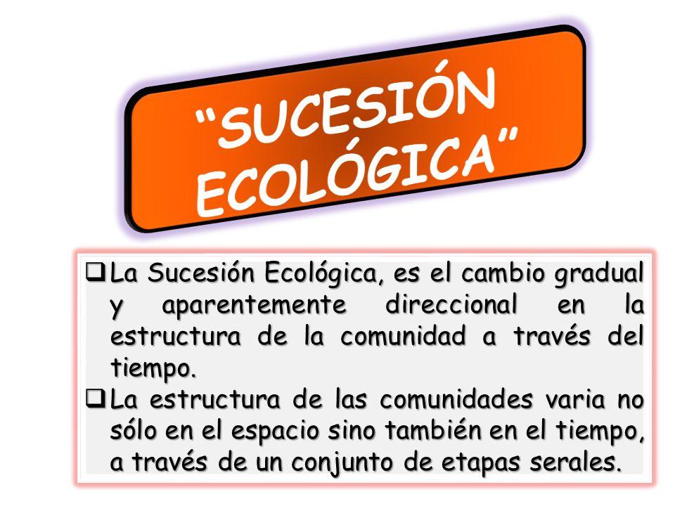 La sucesión ecológica puede definirse Es un proceso ordenado del desarrollo de la comunidad que comprende cambios de la estructura y procesos en las especies a través del tiempo.