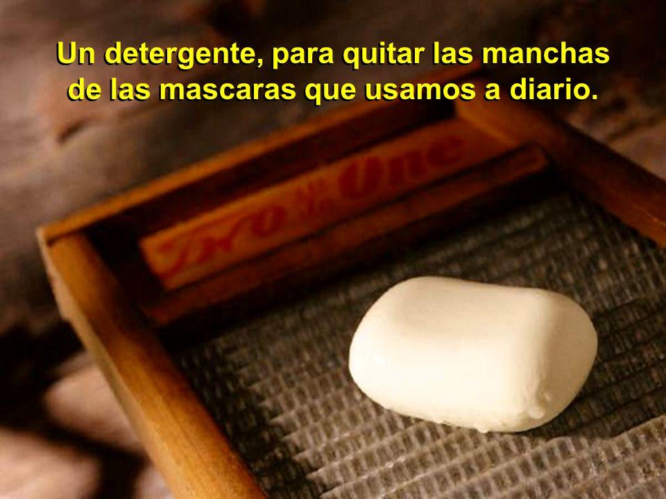 Un detergente, para quitar las manchas de las mascaras que usamos a diario. Un detergente, para quitar las manchas de las mascaras que usamos a diario