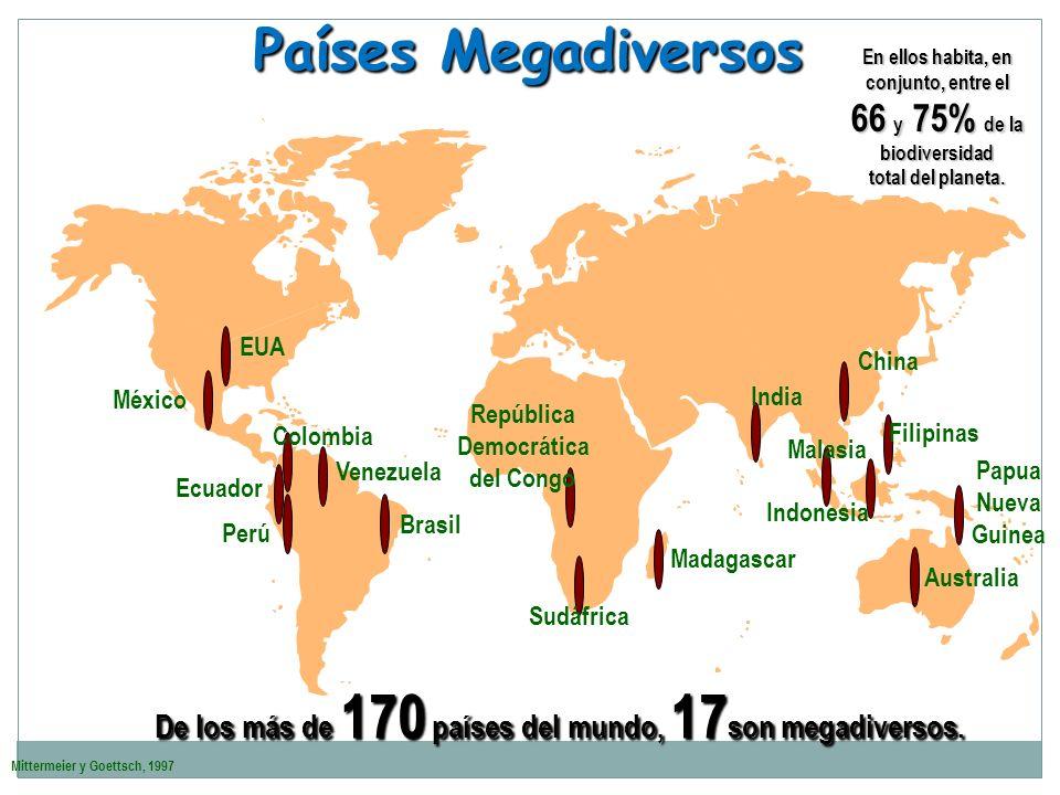 Mittermeier y Goettsch, 1997 Países Megadiversos Australia Filipinas Papua Nueva Guinea Indonesia China Brasil Ecuador Colombia EUA Venezuela Perú Méx