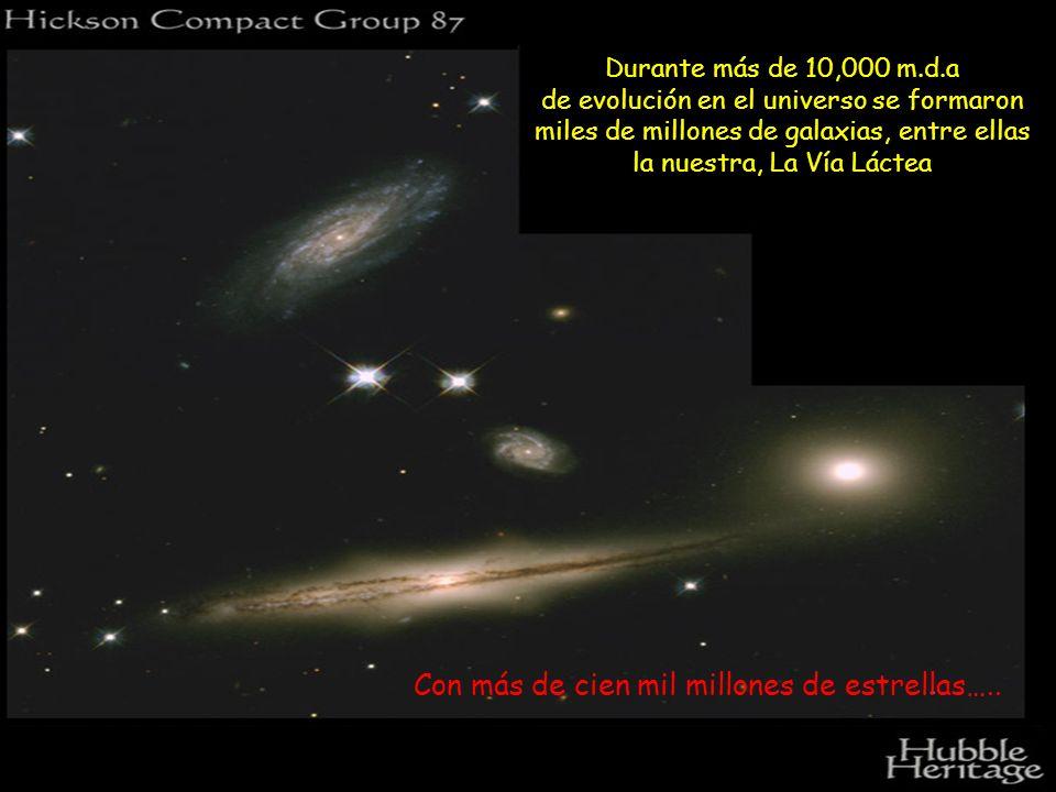 Durante más de 10,000 m.d.a de evolución en el universo se formaron miles de millones de galaxias, entre ellas la nuestra, La Vía Láctea Con más de ci