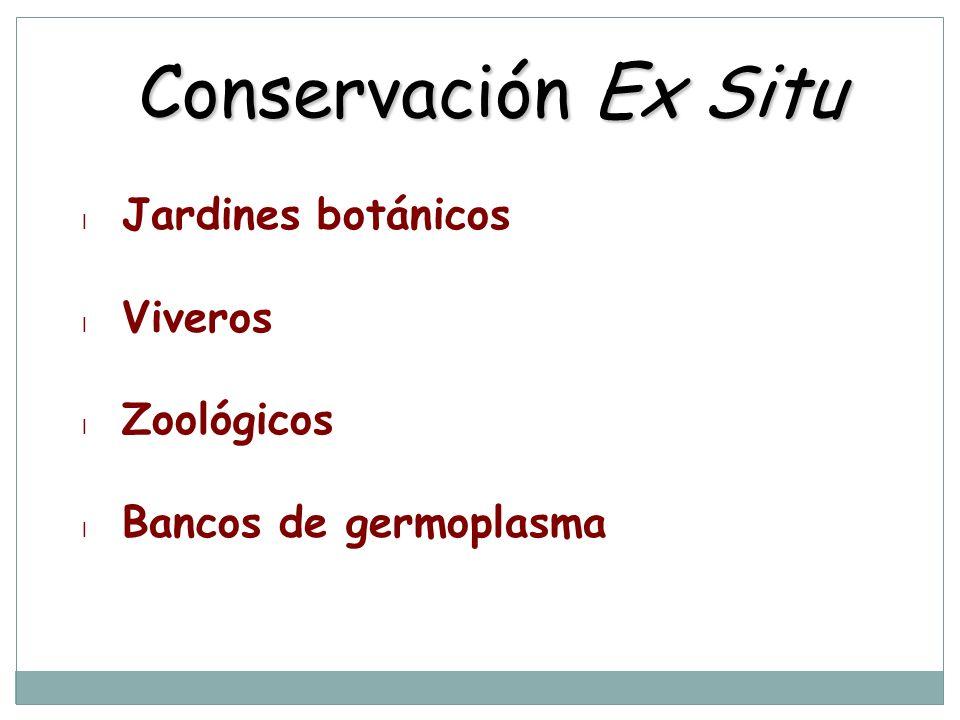 Conservación Ex Situ l Jardines botánicos l Viveros l Zoológicos l Bancos de germoplasma