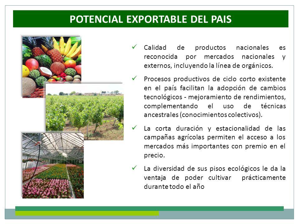 Calidad de productos nacionales es reconocida por mercados nacionales y externos, incluyendo la línea de orgánicos. Procesos productivos de ciclo cort