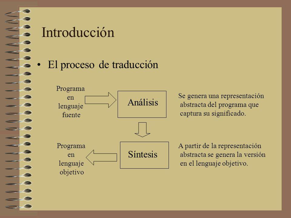 El proceso de traducción Introducción Análisis Síntesis Se genera una representación abstracta del programa que captura su significado. A partir de la